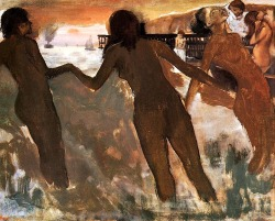 bofransson:  Peasant Girls Bathing in the Sea at Dusk Edgar Degas - circa 1875