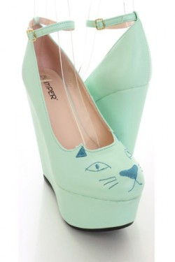 #kittyShoes! #Cute Kitty Face Wedges   Buy Here!