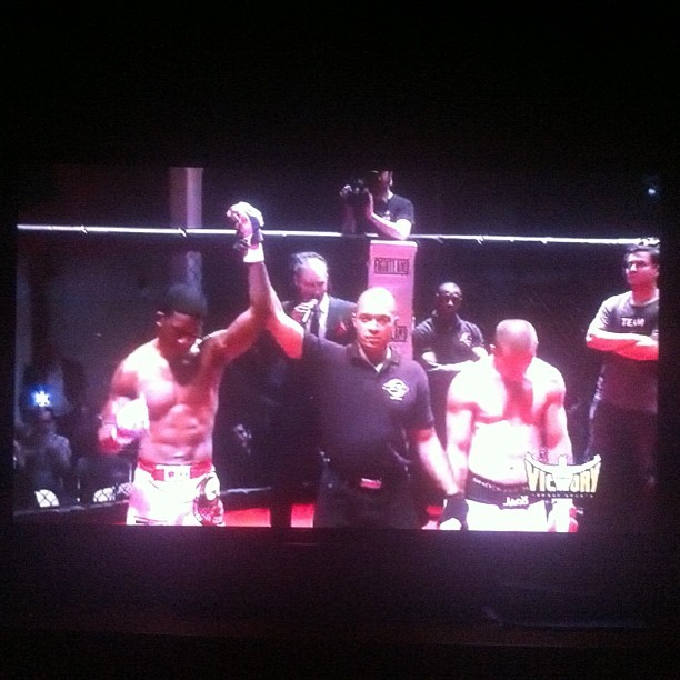 Winner by rear naked choke in the first round. Boom.