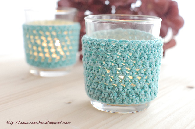 Crocheted Tea Light Covers | The New Crochet I'm on a bit of a pale blue kick at the moment, there's something about the colour that makes Summer seem bearable - maybe it's because it makes me think of perfect clear oceans, thick ice and pale skies! These wraps are so pretty and seem like a good beginners project.