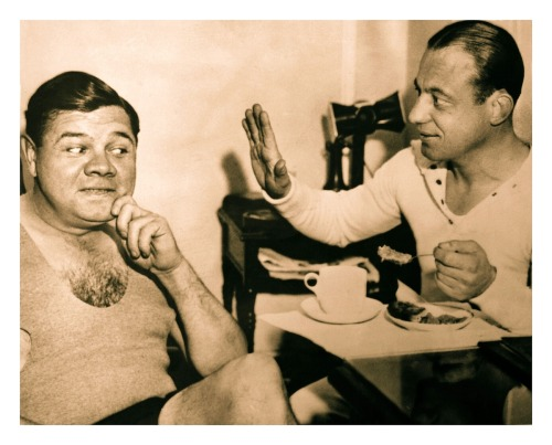 "Babe's Got His Eye On Some Pie Babe Ruth & Trainer Artie McGovern - NYC c.1920's""No pie for you Bambino!"""