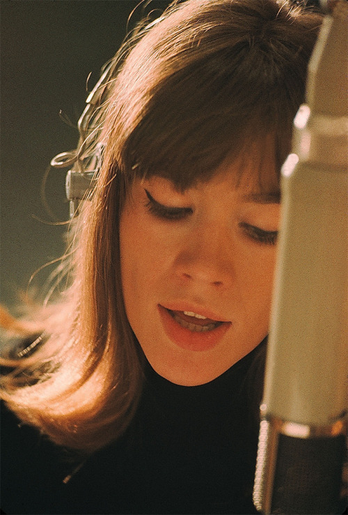 ballion:  Françoise Hardy in the recording studio, 1960s. Photo by Jean-Marie Perier.