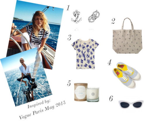 A recent feature in Paris Vogue inspired a maritime aesthetic that helped tie together our Summer 2013 Retro Riviera collection. Naturally, we found sea-appropriate must-haves that will help carry us through the summer, whether or not we make it beyond the shores!  1. Maritime Knot and Anchor Studs, $22. Add nautical charm to your summer style with this maritime mismatch in antique silver plating. chloeandisabel.com  2. Anchor Beach Bag, $28. A large enough tote for all of the accoutrements needed for a day out on the water. Fatface.com 3. Linen Tropical Love Tee, $45. A whimsical crustacean-and-tropical fruit-inspired print for a reliable summer tee, lightweight enough for hot days. Madewell.com  4. Canvas Striped Shoe, $69. A classic French shoe that is as functional as it is chic, that can be easily folded and tossed in a tote. Frenchtrotters.com 5. Linnea's Lights Candle, Sea Salt, $30. If you don't make it out to sea, bring the sea to your home with the smell of ocean breeze captured in a candle. Shopterrain.com 6. Patti Goes to Paris, $130. The name says it all—for that American girl in Paris — Retro-Parisian sunnies that can be worn from boat to beach to street.   Lookmatic.com  See more fun collages on Chloe + Isabel's Polyvore.
