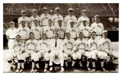 "1932 Columbus Red Birds TeamThis team was filled with excellent future MLB players like George Selkirk and Paul ""Daffy"" Dean, a future HOF Mgr. Billy Southworth and a future HOF executive and all-around crazy character, Larry MacPhail (front row, in suit). Leo Durocher once said of Larry, ""There is a thin line between genius and insanity, and in Larry's case, it was so thin you could see him drifting back and forth"""
