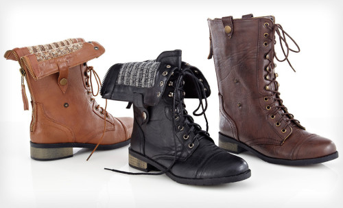 These cute vegan boots are on Groupon today! Good looking out, Kate K. I've never really been into combat boots but these I think I could get down with. I like the folded down thing.