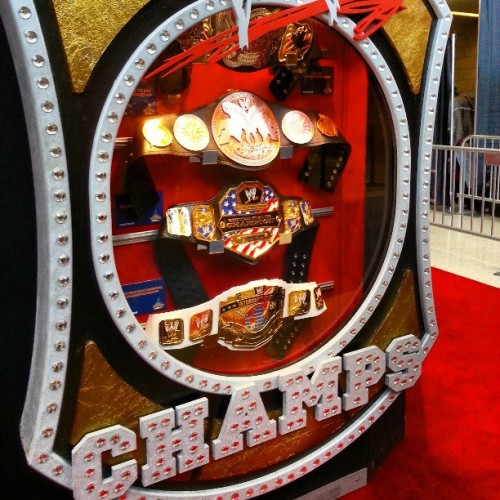 @wwe championships on display at #wrestlemania #axxess. #wrestling #wwe