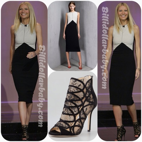 billidollarbaby:  Gwyneth Paltrow in Narcisco Rodriguez Dress and Jimmy Choo Booties on The Tonight Show with Jay Leno Gwyneth Paltrow hit up The Tonight Show with Jay Leno Thursday Night.  She wore a Narcisco Rodriguez Pre-Fall 2013 Dress and a pair of  Jimmy Choo Fauna Black Suede and Lace Booties ($1,250).