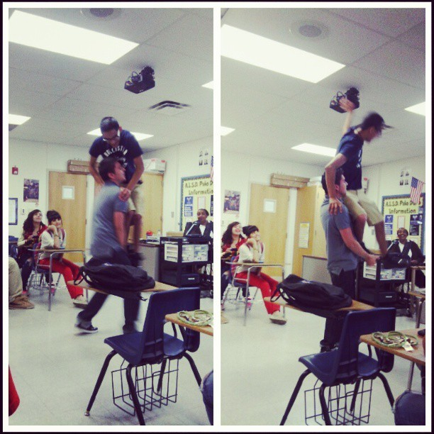 Because getting on a desk to fix the monitor is too hard XD . #class #PDHS #fun #MessingAround