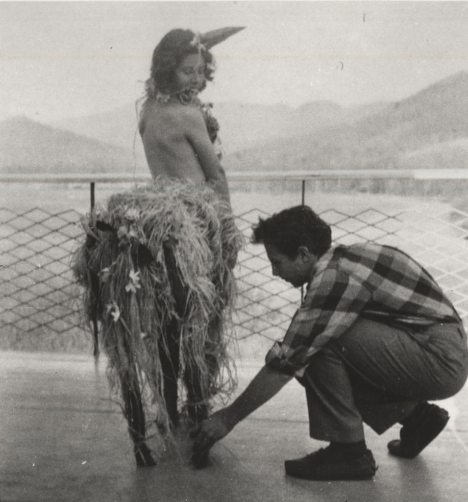 Ingeborg Svarc Lauterstein (left) and Robert Rauschenberg, students at Black Mountain College c.1948-1949. Ingeborg Svarc Lauterstein is dressed as a centaur or unicorn for a party. Costume designed and created by Robert Rauschenberg.