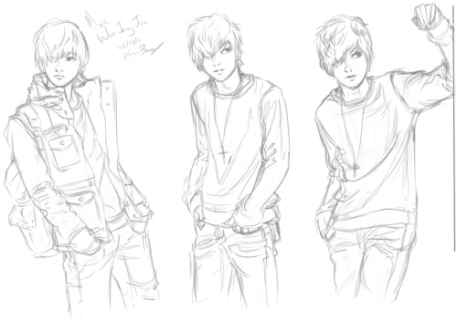 Some more doodles of Won Jong Jin.  I think I'm done for the day (had taken break to see Les Misérables and so it's nighttime).