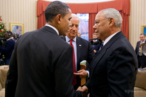 Joe Biden looking at Colin Powell looking at President Obama. :)
