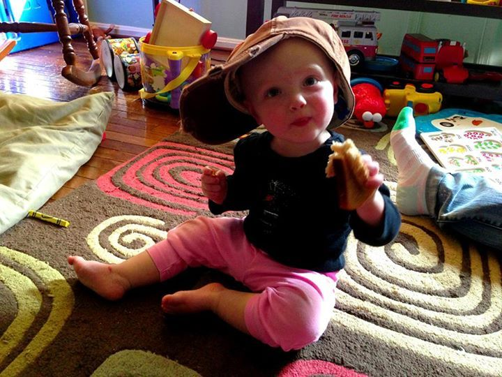 Zoe in daddy's favorite hat