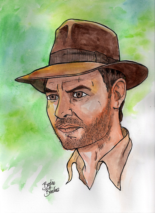 "POP PORTRAITS: INDIANA JONES Harrison ""Finger"" Ford as Henry ""Indiana"" Jones Jr. Pen and ink and watercolor on bristol. 9""x12"".  You can buy the original right here."