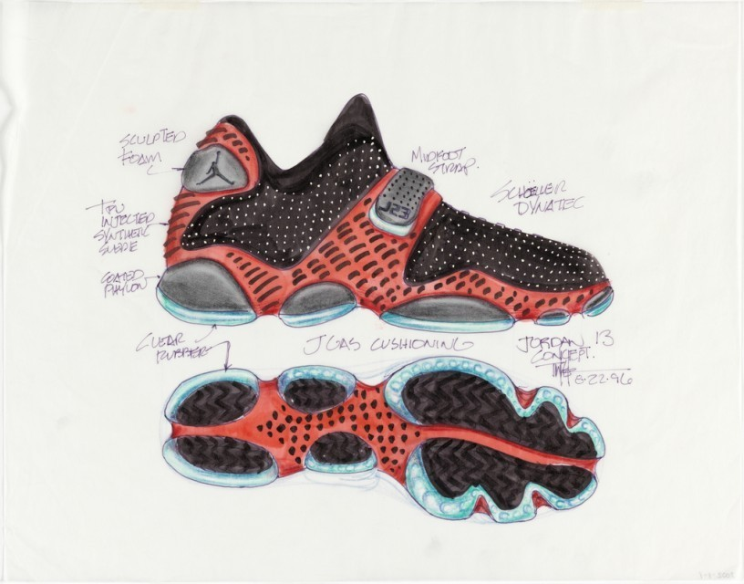"How to Build the Perfect Basketball Shoe Inventor Tinker Hatfield is responsible for the original design concepts of Air Jordan sneakers, one of the most widely recognized and highly coveted products from the 1990s. The jagged line of color on the edge of the sole that became a trademark; the revolutionary ""Air"" bubble design, a small plastic window in the sole of the shoe which allowed you to see the cushioning system inside, are all ideas that came from one man who seems to know a little more about building than just shoe design. - Continue reading at CooperHewitt.org. Ed note: Want to read more about design? Check out our ""Design Decoded"" blog."