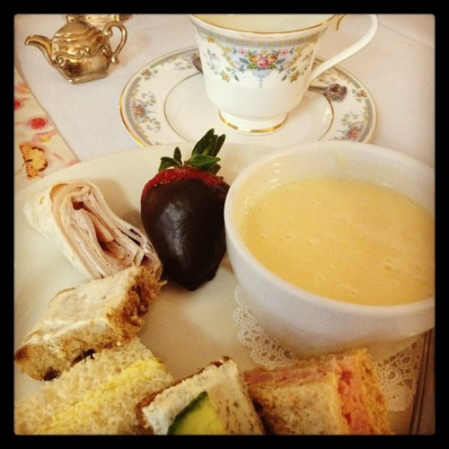 Mother's Day Tea. #tea #fingersandwiches #soup #chocolate #strawberry