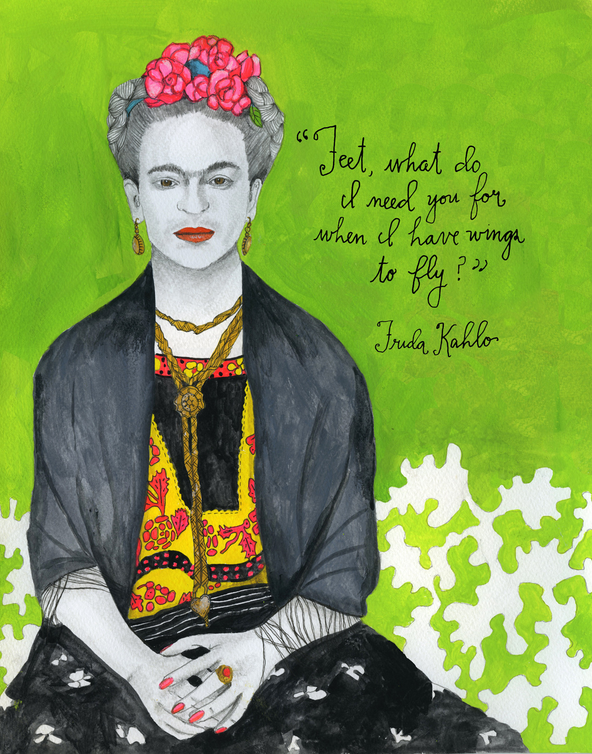 "Mexican painter Frida Kahlo (July 6, 1907 – July 13, 1954) remains best-known for her vibrant self-portraits, which comprise 55 of her 143 paintings and combine elements from traditional Mexican art with a surrealist aesthetic. This dual mesmerism with indigenous Mexican culture and the spirit of the new imbued Kahlo's entire sensibility – she even insisted on stating July 7, 1910 as her birth date, rather than the correct date her birth certificate reflected, in order to make her birth coincide with the start of the Mexican revolution and thus align her life with the dawn of modern Mexico. Kahlo was befallen by a disproportionate amount of medical misfortune. As a young child, she contracted polio, which prevented her right leg from developing fully – an imperfection she'd later come to disguise with her famous colorful skirts. As a teenager, while studying at Mexico's prestigious Preparatoria school as one of only thirty-five girls, she was in a serious traffic accident, which left her with multiple body fractures and internal lesions inflicted by an iron rod that had pierced her stomach and uterus. It took her three months in full-body cast to recover and though she eventually willed her way to walking again, she spent the rest of her life battling frequent relapses of extreme pain and enduring frequent hospital visits, including more than thirty operations. It was during her time in recovery that Kahlo first began painting, at first as a way of occupying herself while bedridden. Her mother even had a special easel made for her in order to be able to paint in bed with her father's set of oil paints and brushes. ""I paint myself because I am so often alone and because I am the subject I know best,"" she famously reflected on her self-portraits. Two years after the accident, in 1927, she met the painter Diego River, whose work she'd come to admire, and he went on to encourage and mentor her work. In 1929, despite her mother's protestations, the two were wedded and one of art history's most notoriously tumultuous marriages commenced. Both had multiple affairs, the most notable of which for bisexual Kahlo were with French singer, dancer, and actress Josephine Baker and Russian Marxist theorist Leon Trotsky. Despite her work being inducted into the world's most prestigious art institution when the Louvre purchased one of her self-portraits in 1939, Kahlo didn't reach wide critical acclaim until the early 1980s and the advent of the Neomexicanismo movement. Previously, she had been frequently reduced in historical accounts to ""Diego Rivera's wife."" Today, her work endures as one of the most prominent and singular voices in twentieth-century art. In her final days, shortly before turning 47, Kahlo wrote in her diary, ""I hope the exit is joyful — and I hope never to return."" Learn more: Wikipedia  