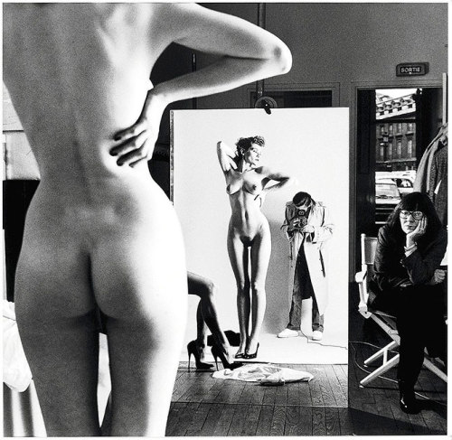 Helmut Newton.   The inclusion of his wife, Alice Springs, (far right) in this photo is perfection.