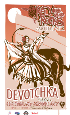 Show poster:JUNE 14, 2013DeVotchKa with Colorado Symphonyspecial guests:Amanda Palmer (with the Colorado Symphony)Paper BirdRed Rocks Amphitheater - Morrison, Colorado Tickets and more info HERE: http://bit.ly/AFP614tix