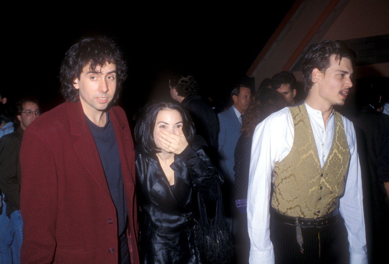 Tim Burton, Winona Ryder and Johnny Depp at the premiere of Edward Scissorhands, December 6th, 1990