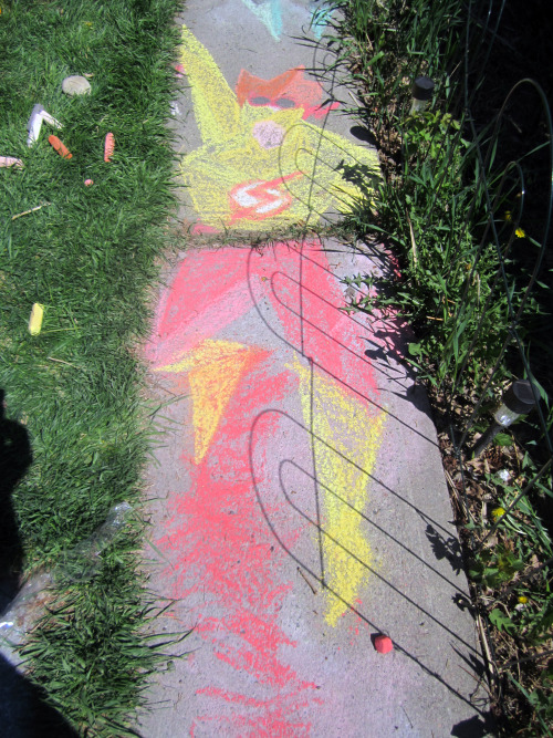 daddymakemeasuperhero:  Artemis and Kid Flash - The Spitfire Sidewalk Chalk edition Do you know the colouronly85 tumblr? It's the tumblr of an illustrator who decided to create colour-only graphics of every character in the DC universe in time for the release of Man of Steel. If you don't, go check it out, look at all his pictures, then follow him: http://colouronly85.tumblr.com/ They are stunning. My kid and I have had fun going through his entire portfolio to figure out who is who (my kid was extra excited when he figured one out - Amazo - that had stumped me). I mention it because these sidewalk chalk creations are based off of his work (Artemis: http://colouronly85.tumblr.com/post/42129151379,  Kid Flash: http://colouronly85.tumblr.com/post/40209725573). The minimalist styles help with the limitations of drawing with a huge stick of chalk on the cement. The boy helped with Wally's speed lines. He also insisted I added lips to Artemis.