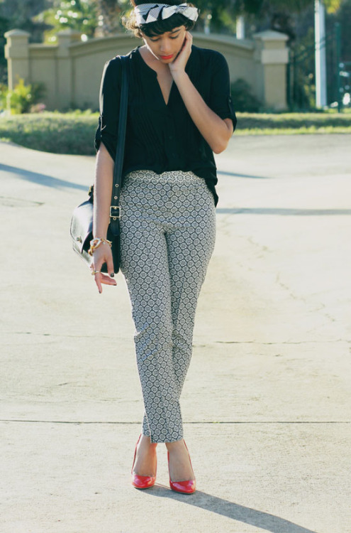 blackfashion:  Top: BCBGMAXAZRIA, Pants: ASOS, Shoes: Prada, Purse: CoachBracelet: Kenneth Jay Lane, Headband: Forever 21