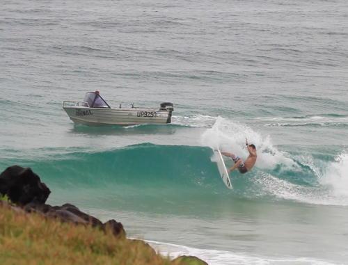 Parko flashing the fins for The Mad Huey's and The Animal, today.