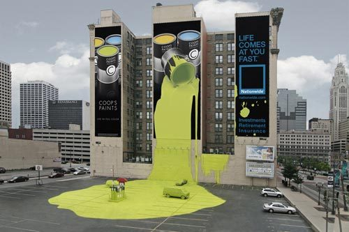 lauren-doherty:  Coops paintsSpillage installation advertising