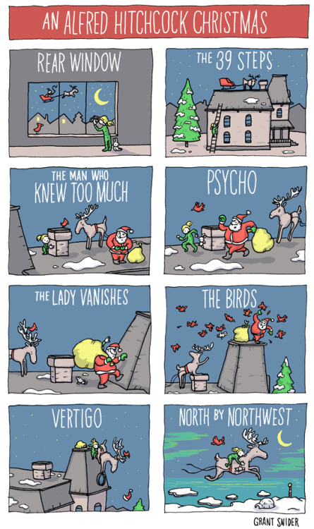 incidentalcomics:  An Alfred Hitchcock Christmas  An Alfred Hitchcock X-mas