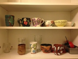 some of the pots in our kitchen! made by myself, my roommate & kari radasch!