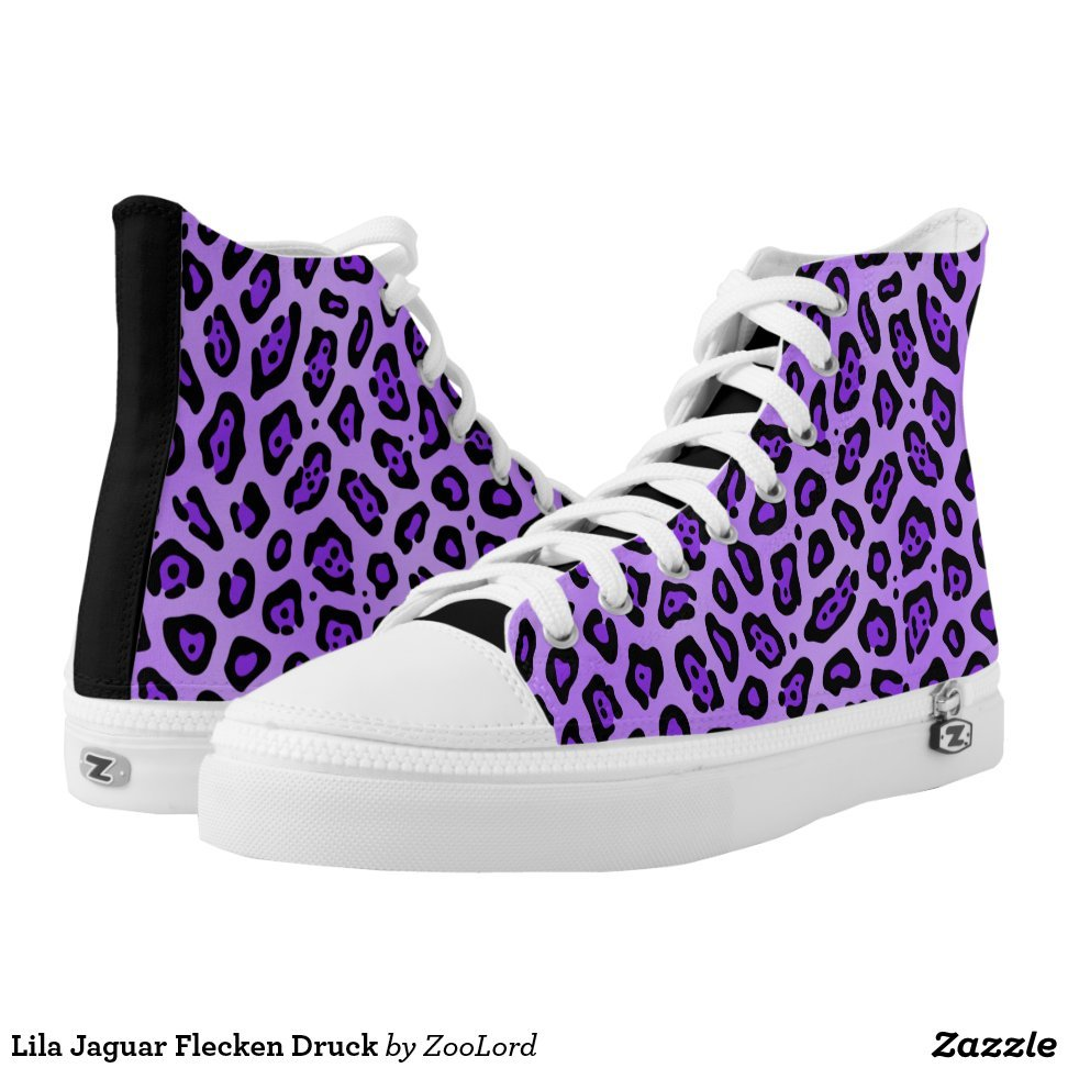 Lila Jaguar Flecken Druck High-Top Sneakers - Unique Canvas Shoes With Interchangeable Tops  External image  Buy This Design Here: Lila Jaguar Flecken Druck High-Top Sneakers Created by Fashion Designer: ZooLord Look sporty, stylish and elegant in a pair of unique custom sneakers! Each pair of custom Low Top ZIPZ Shoes is designed so you can fit your style to any wardrobe, mood, party or occasion. Fashionable sneakers for kids and adults, ZIPZ shoes give you a unique and personalized way to express yourself!Lila Jaguar Flecken Druck High-Top Sneakers Product Information - Unisex sizing: 4-13 Men's | 6-15 Women's - Material and fabric: Durable canvas tops, rubber soles - Buy multiple pairs! ZIPZ shoes are interchangeable, the top cover can be zipped on and off so you can easily switch up your style on the go - Rubber soles are manufactured with extra cushioned insoles and a specially designed arch support system to give your feet a comfortable and healthy fit - Quality you can trust: ZIPZ has been independently tested by SATRA for wear, use, and durability - Additional cost for designing on the tongue of the shoe - Lila Jaguar Flecken Druck High-Top Sneakers are printed in Santa Fe Springs, CA #sneakers#shoes#footwear#style#fashion#sports#fashionista#OOTD#streetwear#fashionblogger