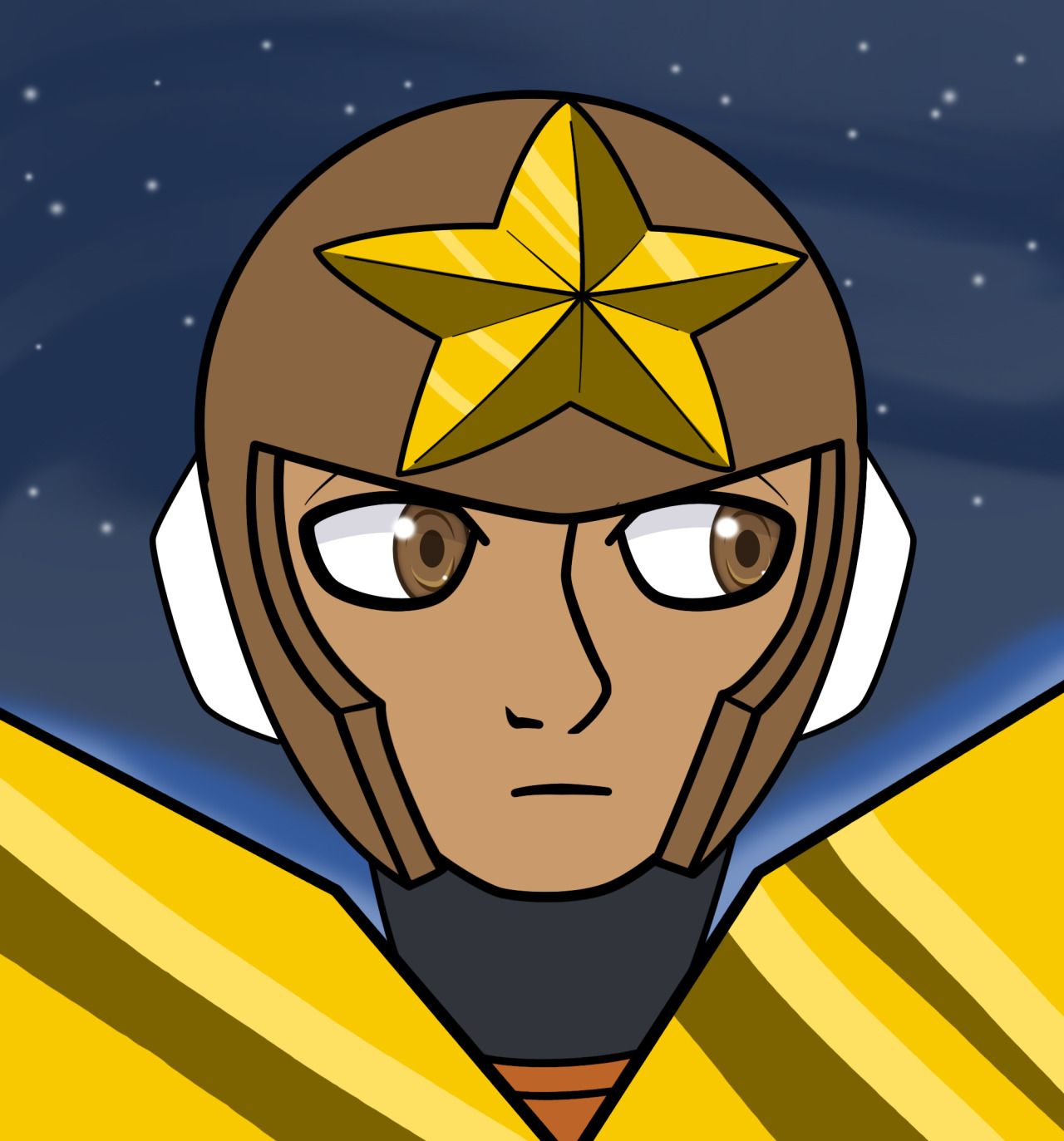 very quick Star Man for ask blog  #my art#digital art#star man#robot masters#megaman #Ruby-Spears Mega Man  #just dont trust art from Curse of the Lion Men I guess