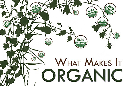 ". Organic food label definitions According to the U.S. Department of Agriculture if the label says:      -""100% Organic"":  Products labeled ""100 percent organic"" must contain only organic ingredients with the exception of water and salt.  -""Organic"": Products labeled ""organic"" must contain at least 95 percent organic ingredients.       -""Made with Organic Ingredients"": Products that are made with at least 70 percent organic ingredients are allowed to be labeled ""made with organic ingredients.""   ."