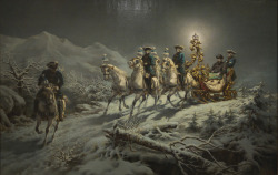 moika-palace:  King Ludwig's Nighttime Sleigh Ride by R. Wenig, ca. 1885-1886. Marstallmuseum. Schloss Nymphenburg, Munich.