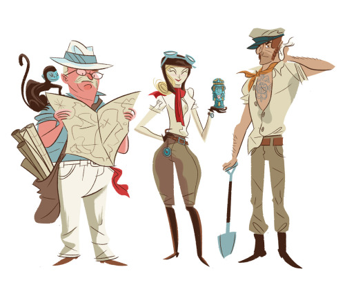 "Also, here are some early character drawings I did for the Adventurer's backstory in ""The Cave"". I didn't design the character models for the playable portion of the game itself. I just stylistically retooled the main character riffing off of the super fun existing character models they game me, and then invented secondary and background characters for these ""Cave Paintings"" you discover along your way through the game that reveal the character's story. In this case, the Adventurer (lady in the middle) already existed. I came up with the fine fellows flanking her to serve as her adventuring companions! I've always been a big Indiana Jones fan and could probably draw explorer/adventurer peeps all day!"