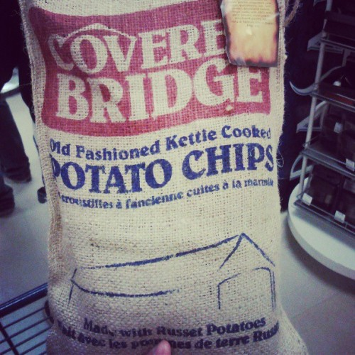 Potato chips in a potato sack. Itchy but cute. #junkfood