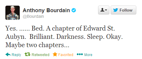 Anthony Bourdain reads Edward St. Aubyn before bed.