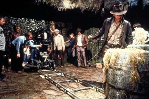On the set of Raiders of the Lost Ark (1981)