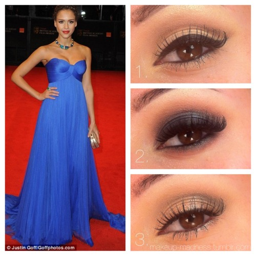 Prom: Cobalt Dress  1. Classic - This looks created a beautiful elongated eye shape with neutral colors perfect for any skin tone. A brown shadow in the crease mimics the thick, black winged liner. This classic pin up look pairs perfectly with a coral or orange-red lip. Tip: Line the waterline with black for a narrow eyed look, or a flesh tone for a more open eyed look.  2. Smokey - The combination of warm tones in the crease and cool tones on the lid make a lovely contrast in this smokey eye. The key to this look is blending! Feeling bold? Rock a coral red lip! Want the eyes to stand on their own? Wear a soft pink or nude lip. Tip: Try this eye look working from the brow down. That way, you won't mistakenly blend your lines too far up!  3. Romantic - This cool toned lo