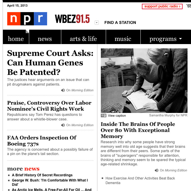 This morning my photo was on the homepage of NPR. Exciting day. Check out the story here.