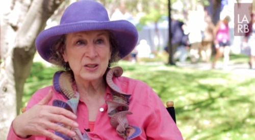 "lareviewofbooks:  Catch the new LARB video interview with Margaret Atwood, discussing her new serial novel ""Positron"" at the LA Times Festival of Books."