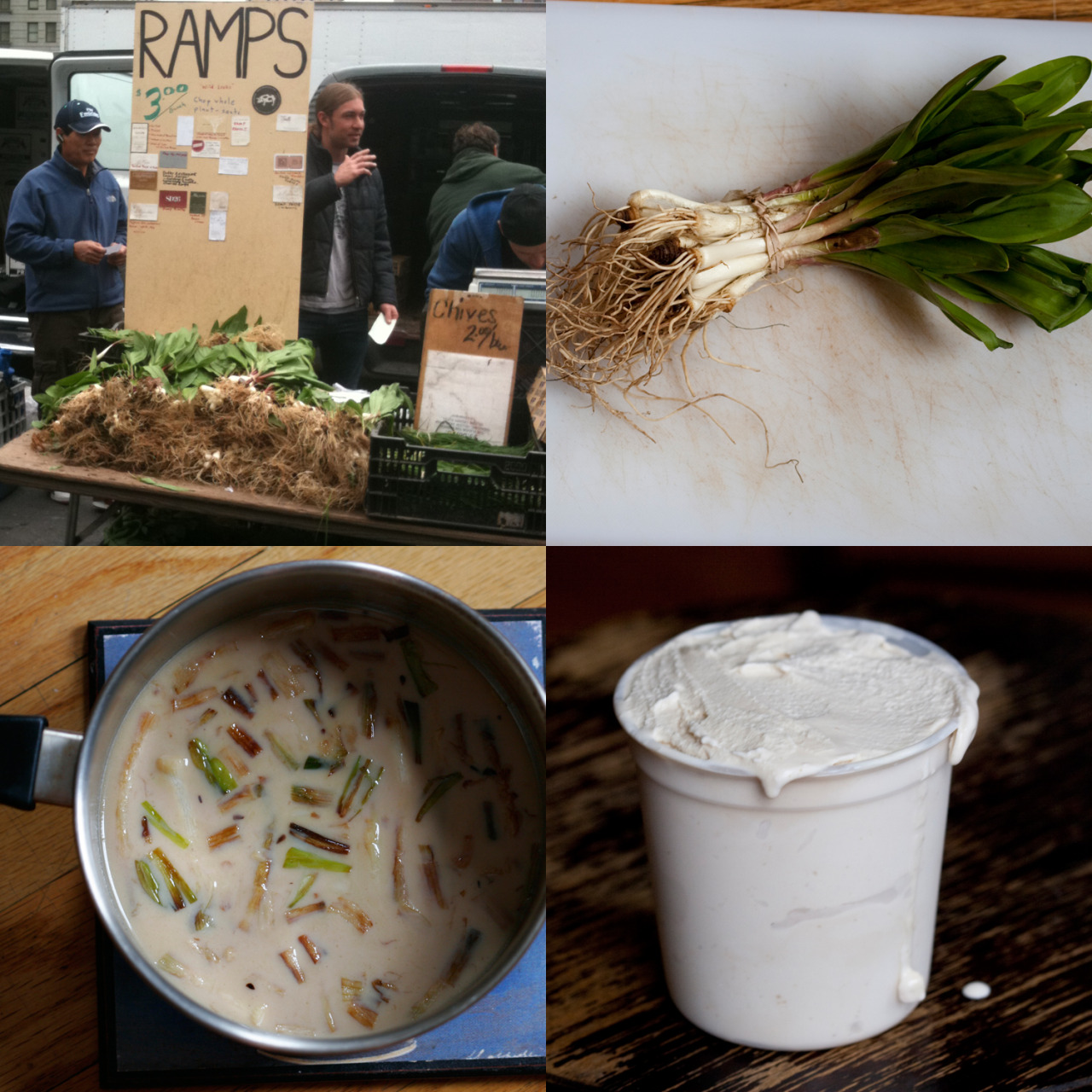 "milkmade flavor of the day: Ramps!ramps are wild leeks that are found in the northeast during a short window of spring. they taste like half-onion, half-garlic, and garner quite a frenzy when they appear at the greenmarkets this time of year. we partook in the frenzy and sweetened 'em up to make a ramps ice cream.Ramps are back at it and so are we. This one is just such a fun unexpectedly good flavor — we released it to members May 2011, flavor #37, as a THIRD OPTION in our normal two flavor-of-the-month offering. Only like 8 people opted in. One of whom said, and we quote ""That Ramps ice cream…. is insane.. I love it."" Not bad for an onion-y, garlic-y ice cream! Thanks MilkMade Member, Aaron G!    Want to get your hands on a pint? Ping us if you'd like to pick one up next week from our LES kitchen."
