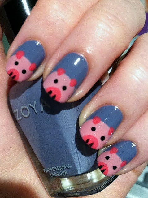 Piggie Nails on We Heart It - http://weheartit.com/entry/58939648/via/marynaoliveira   Hearted from: http://www.flickr.com/photos/92182888@N02/8663222844/in/photostream
