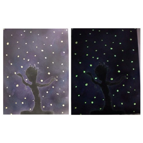"""I did a Groot painting today! So happy with it! All the little """"fireflies"""" glow in the dark! I love this so much!"""