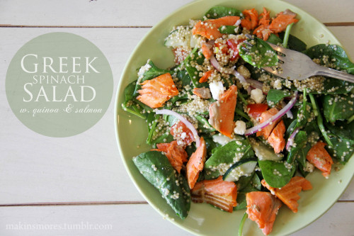 Spinach & Quinoa Greek Salad w. Salmon 2 cups baby spinach, 1/4 cup (dry) quinoa cooked, red onion slices, cucumber slices, diced tomatoes, feta crumbles, 3 oz baked salmon, and Greek dressing  Only five days until I leave for San Diego for Spring Break! Which means I really have to make sure I'm eating healthy and drinking plenty of water all week… and actually getting to the gym  follow for more healthy recipes and food tips!
