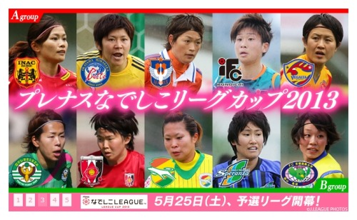 Nadeshiko League Cup 2013 Qualifiers: 25/05 ~ 18/08  Finals: 24 or 25/08 ~ 31/08 or 01/09