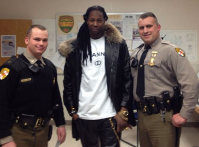 "On Thursday, 2 Chainz's vehicle was pulled over for speeding and the hip-hop star was arrested for possession of marijuana in Maryland. He later uploaded this photo on Instagram with the caption: ""Locked me up and then wanted pictures smh""[via E! Online]"