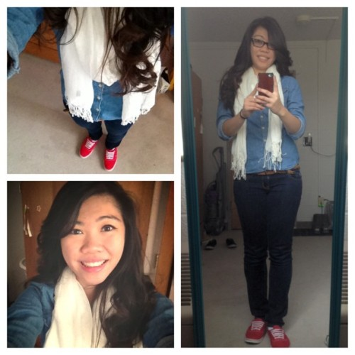 #OOTD Rocking out the #denim 😊 #selfie #asianpersuasion #vans #scarf #raybans #curlyhair #cheesing #vietnamese #viet #instapic #instacute #instafashion #instagood 💗
