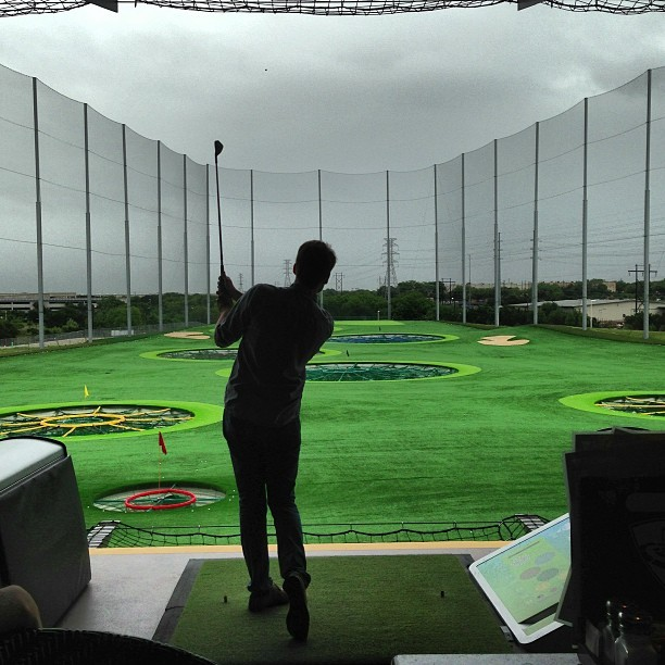 Super fun golf game…Its a driving range and you compete with friends to score points by hitting targets.  (at TopGolf)