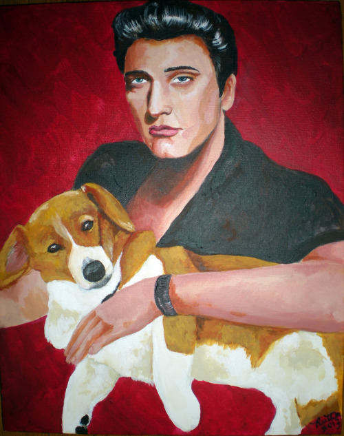 I painted a portrait of my friend's Corgi, Rudy, with everyone's friend Elvis in exchange for a shelf he built me. I hope Rudy likes it!