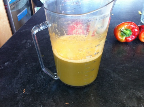 This is the juice I made at work yesterday. It basically just had anything we had that could be juiced in it :) 4 apples (I wish I only put 3 in though, it was a bit sweet at first), 5 carrots, 1 orange, ginger, lemon, parsley, kale, spinach, and cilantro. That made around 1.5L of juice that I drank through the day.